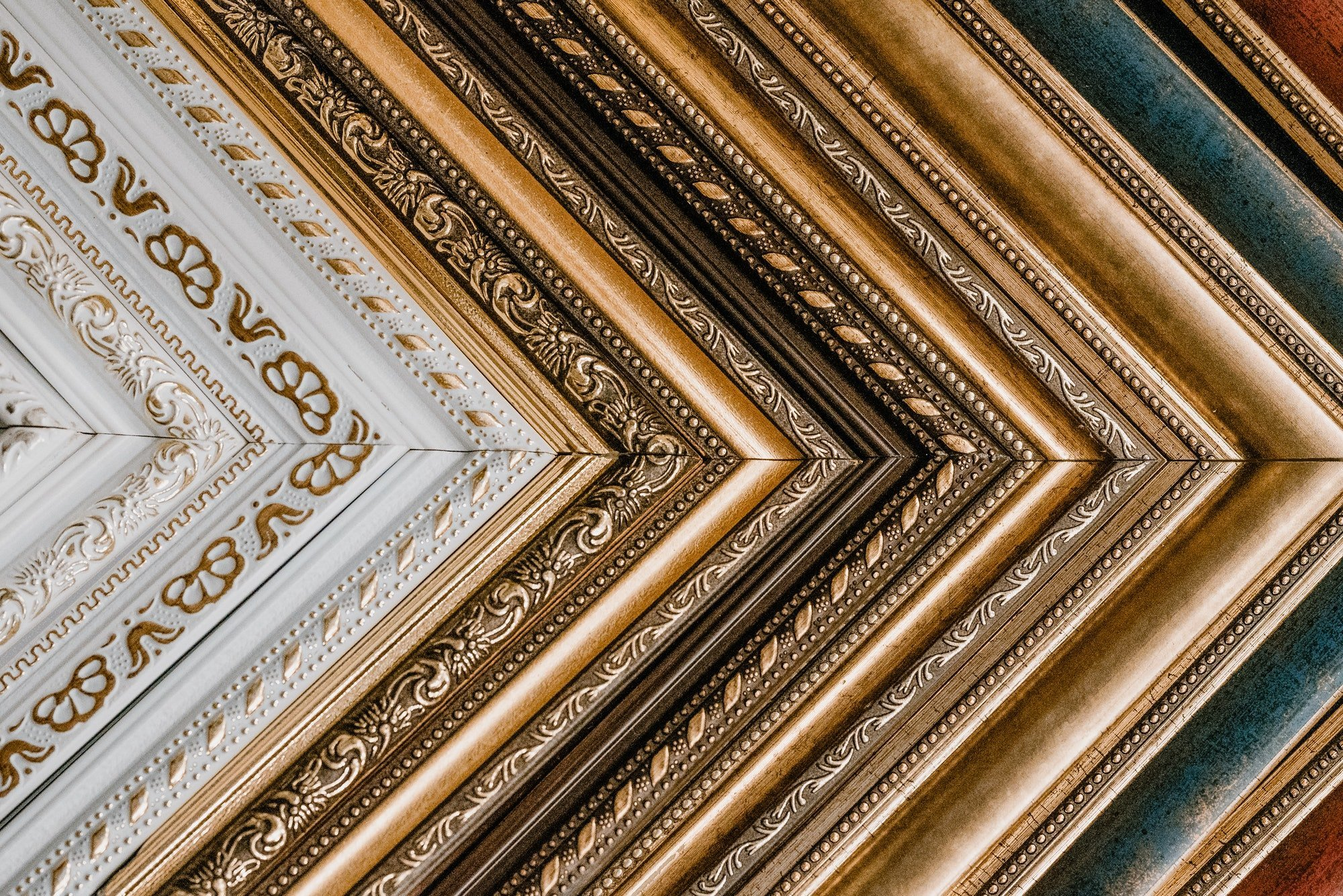 Many old frame pattern background. Framing. Collection of old fashioned different art frames in shop