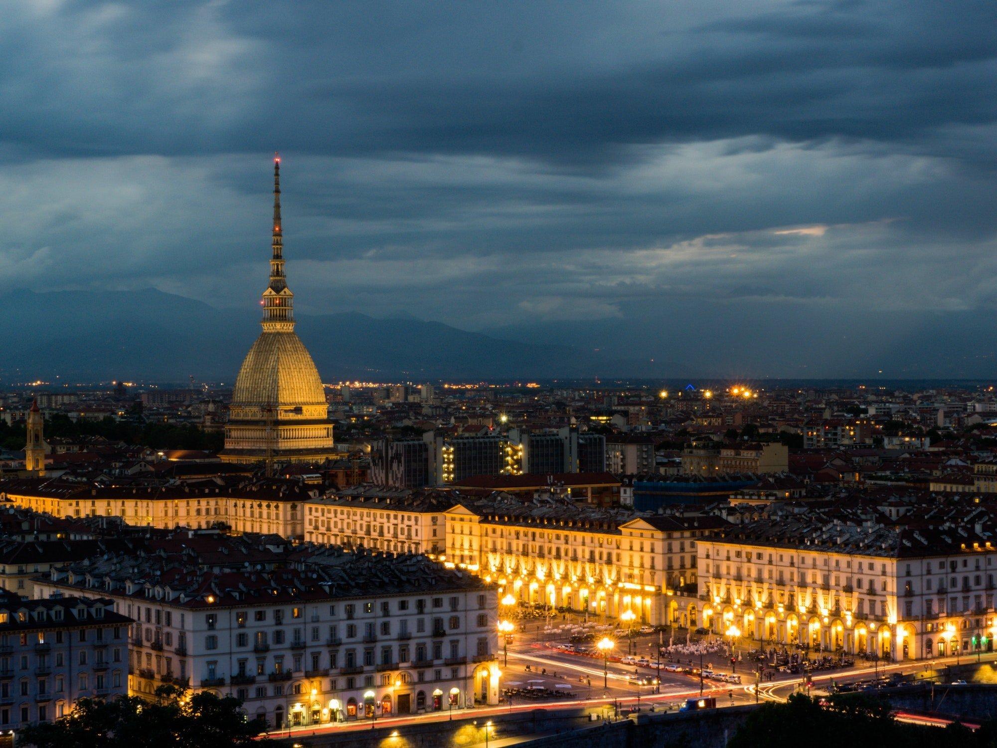 Turin evening skyline with mole Antonelliana landmark