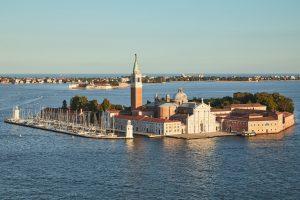 Aerial view of San Giorgio Maggiore island and basilica, Venice