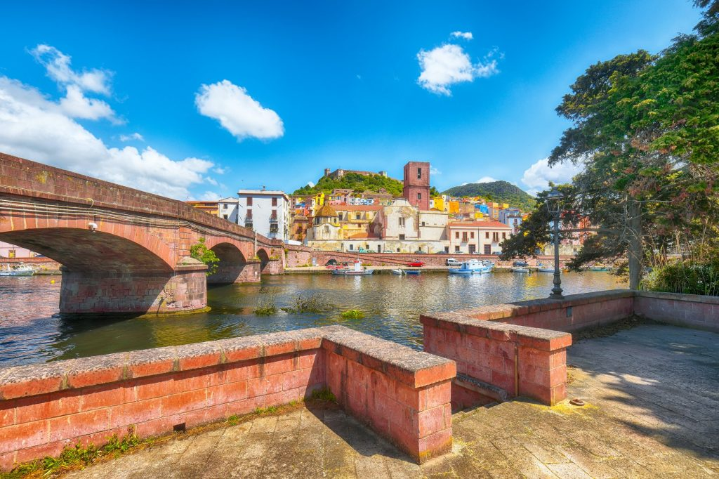 Astonishing cityscape of Bosa town with Ponte Vecchio bridge across the Temo river