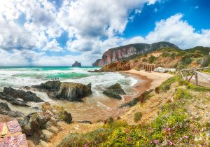 Awesome view of beach Portu Cauli in Masua with Pan di Zucchero at background.