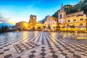 Belvedere of Taormina and San Giuseppe church on the square Piazza IX Aprile in Taormina
