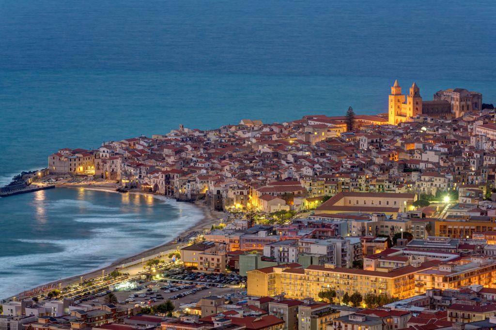 Cefalu in Sicily at twilight