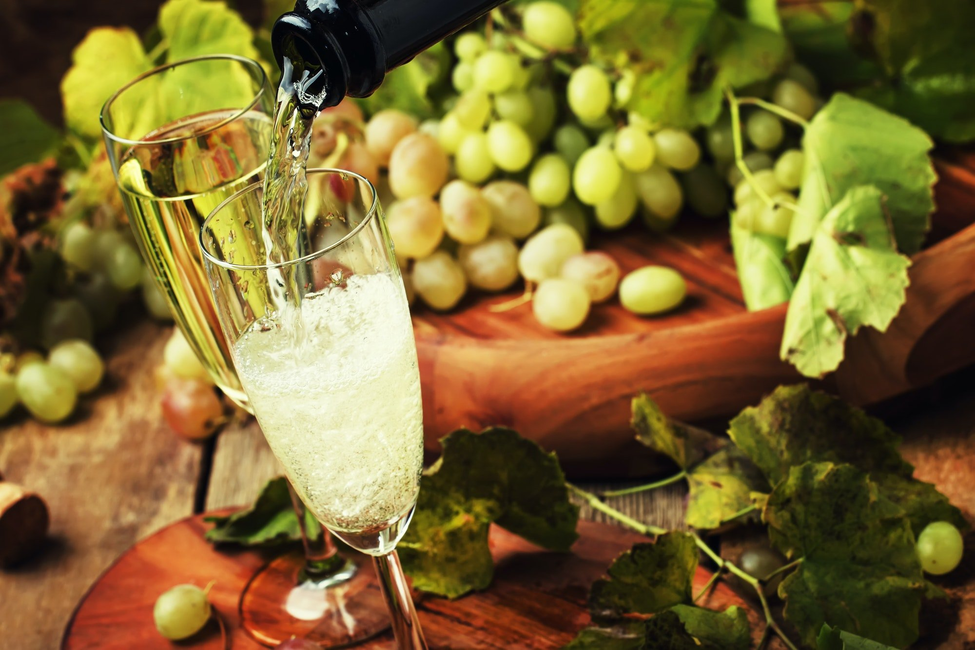 Champagne Pour In Glass