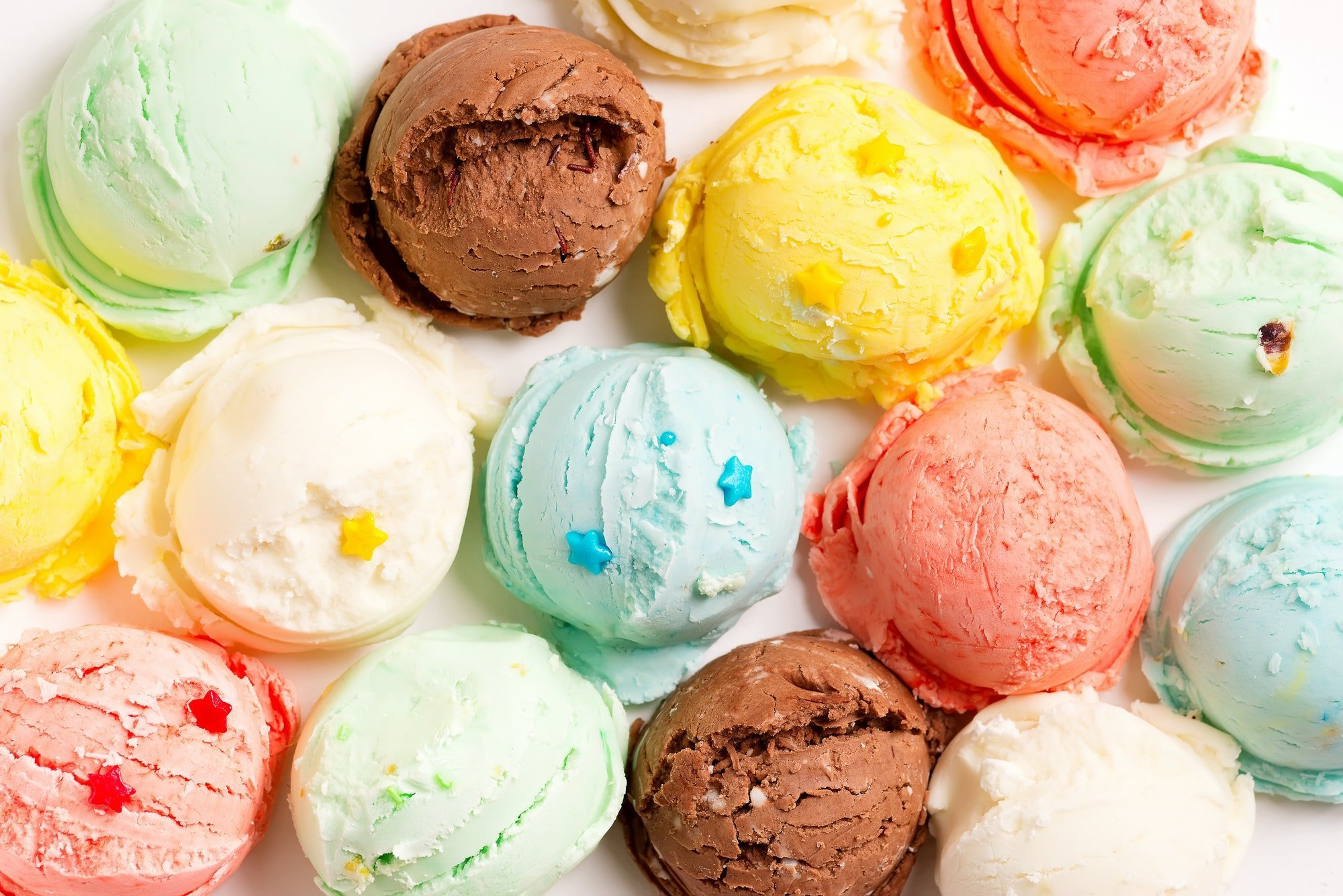 Close-up colorful balls from freshly prepared homemade sweet tasty ice cream or gelato with star