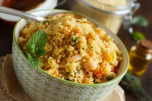 Couscous with shrimps and vegetables