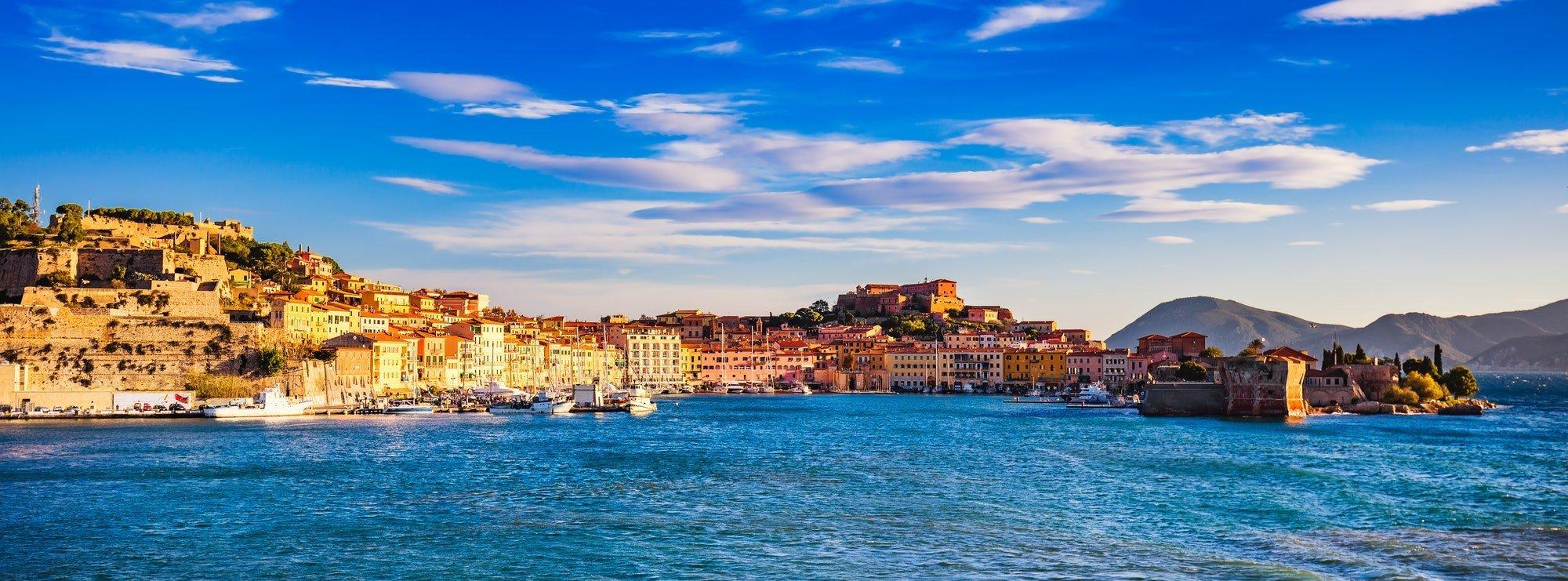 Elba island, Portoferraio village panorama, harbour and skyline.