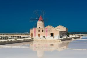 Mill next to the salt pans of Trapani on Sicily