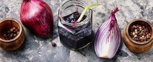 Onion jam in glass jar