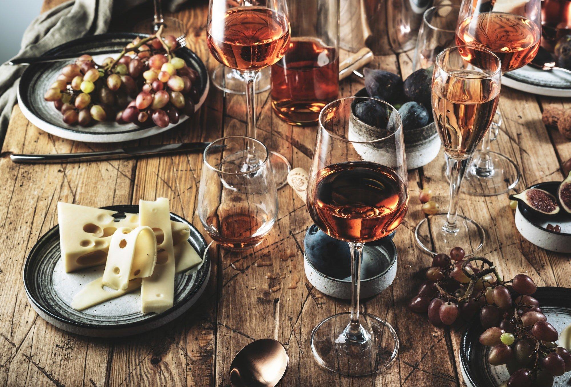 Pink rose wine