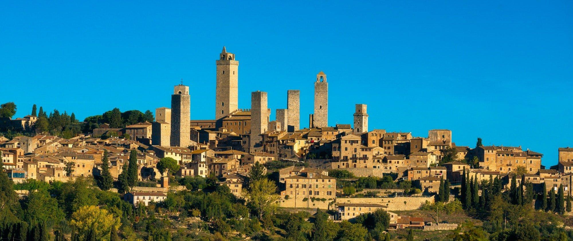 San Gimignano medieval town towers skyline panorama. Tuscany, It