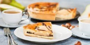 Slice of pear cake. Autumn comfort food