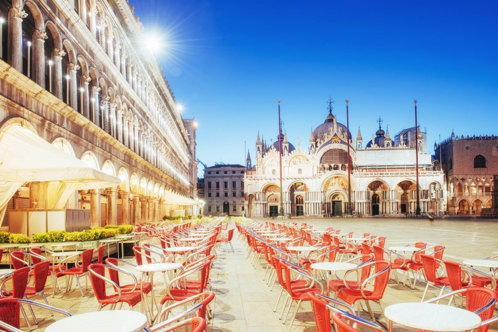 St Mark's Square Piazza San Marco and Campanile bell tower in Venice. Italy.