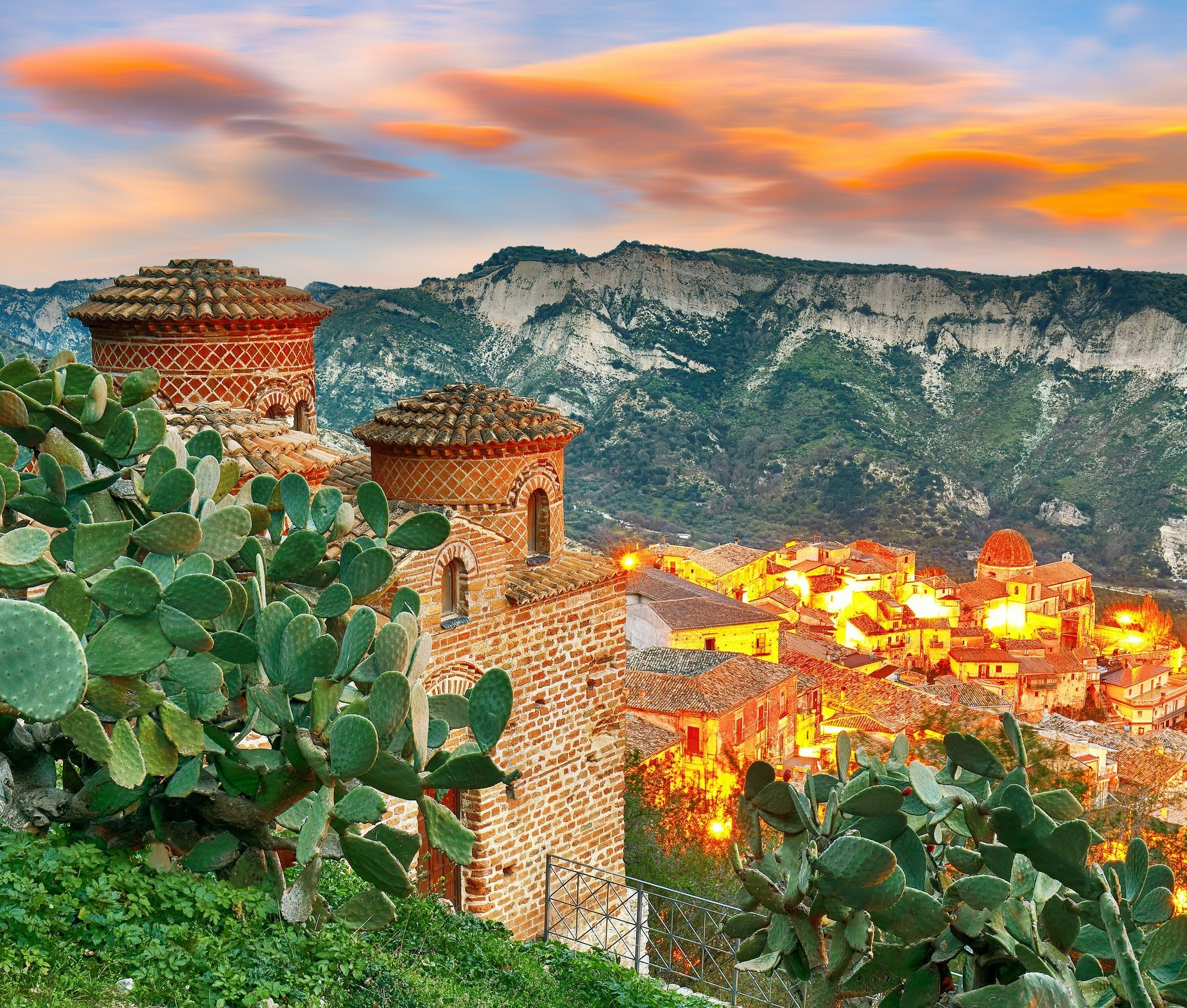 Sunrise over old famous medieval village Stilo in Calabria