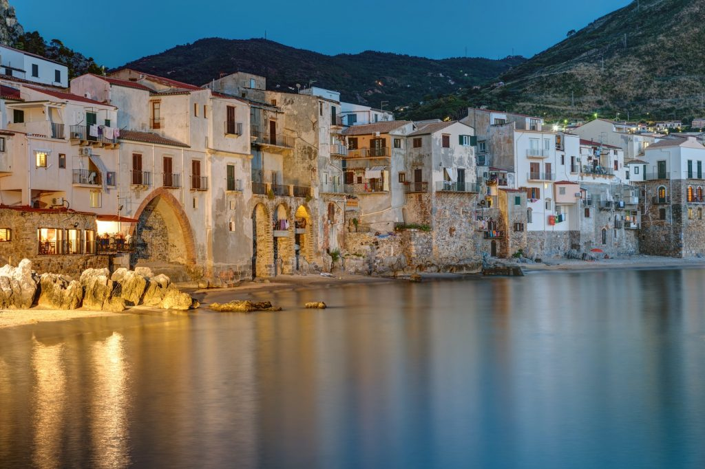 The city of Cefalu reaches right to the beach