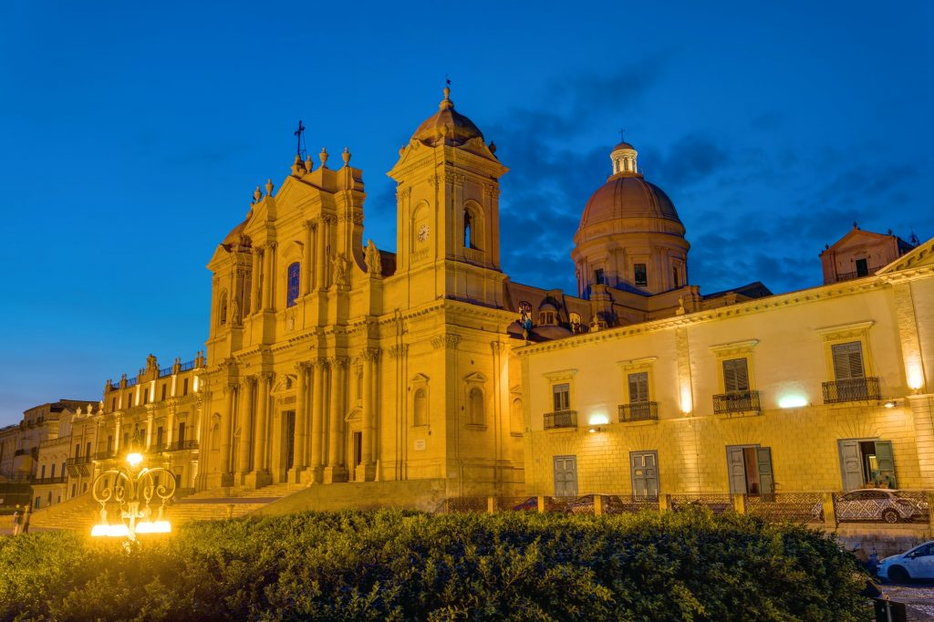 The famous cathedral of Noto in Sicily at night
