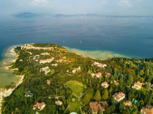 Top view of Scaligera Castle and Sirmione on Lake Garda.Italy.Tuscany