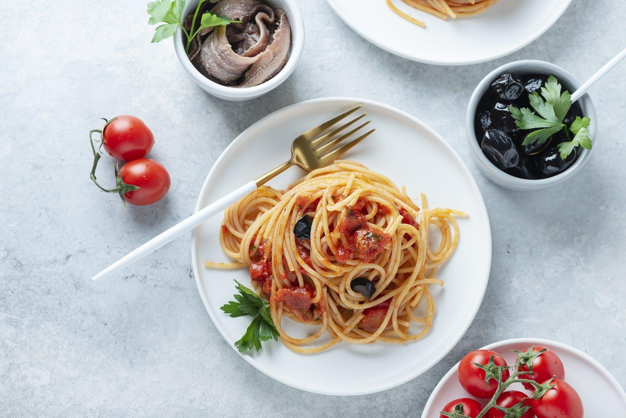 Traditional italian pasta puttanesca