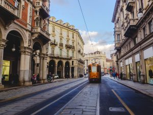 Tramway in the streets of Turin, italy.
