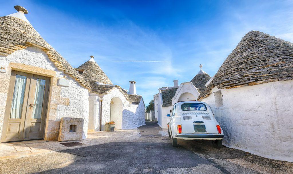 Trulli of Alberobello typical houses street view