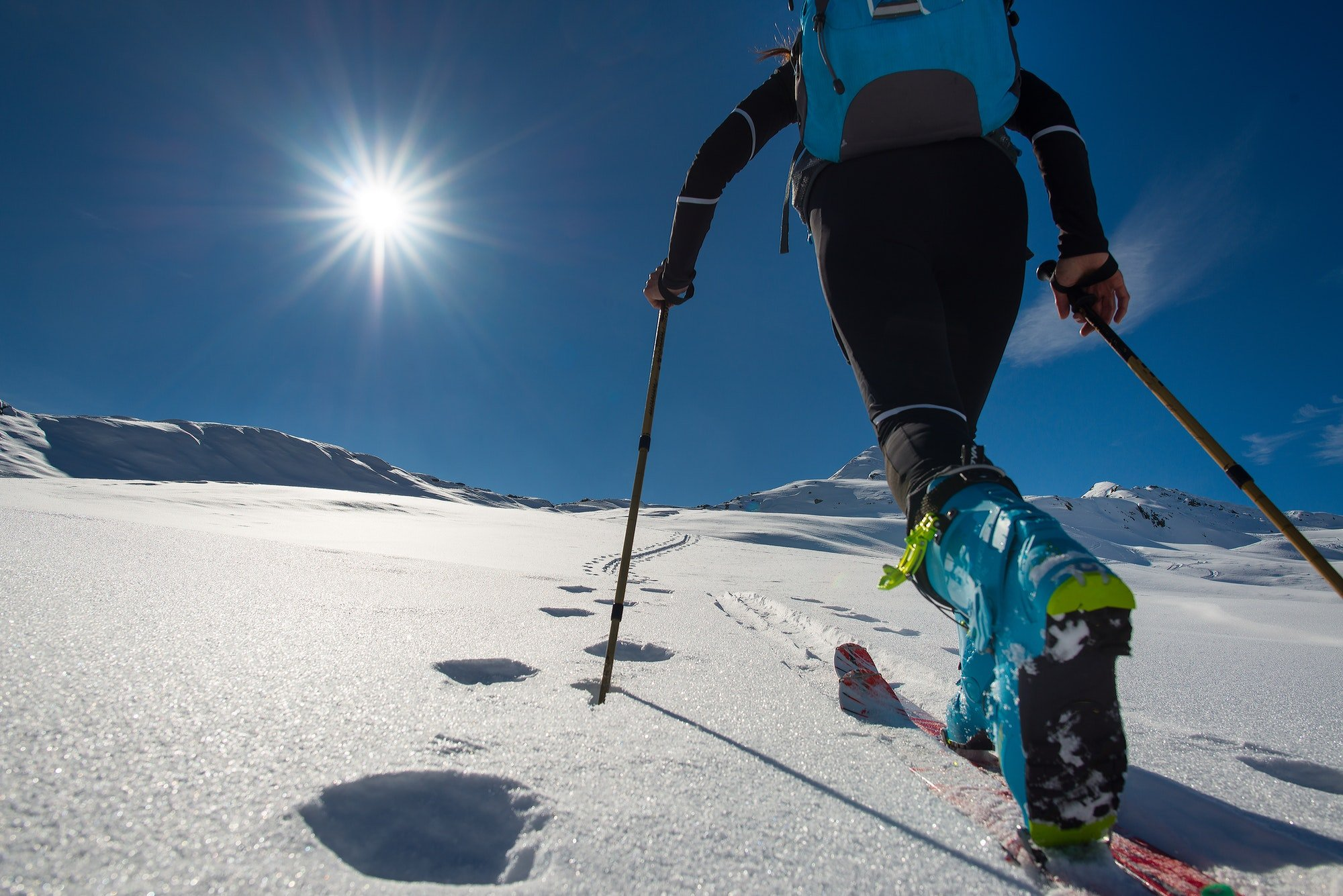 Walking with Walking with ski mountaineering with sealskins in