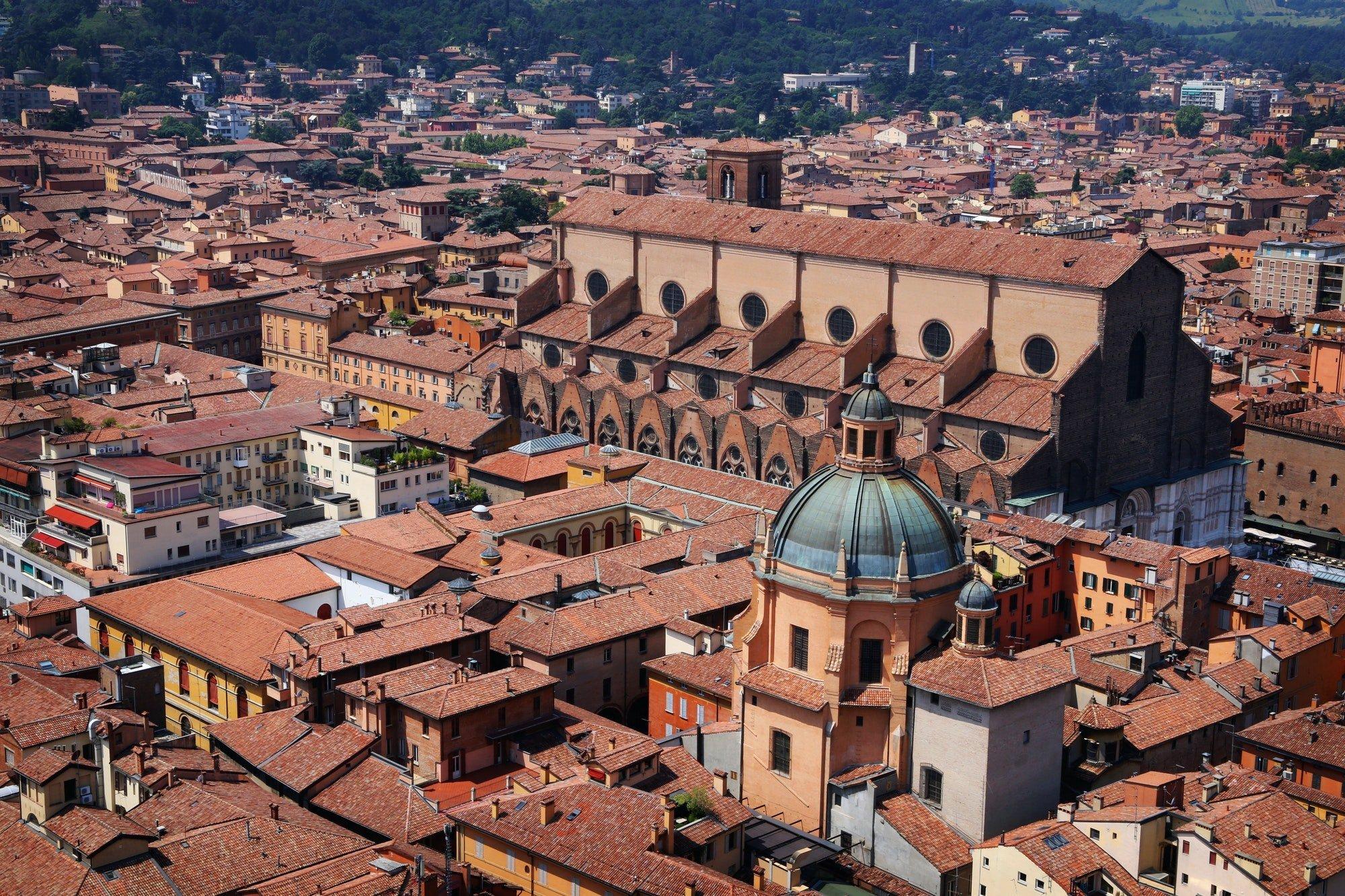 Aerial view of Bologna, Italy city center. Piazza Maggiore, with San Petronio Basilica