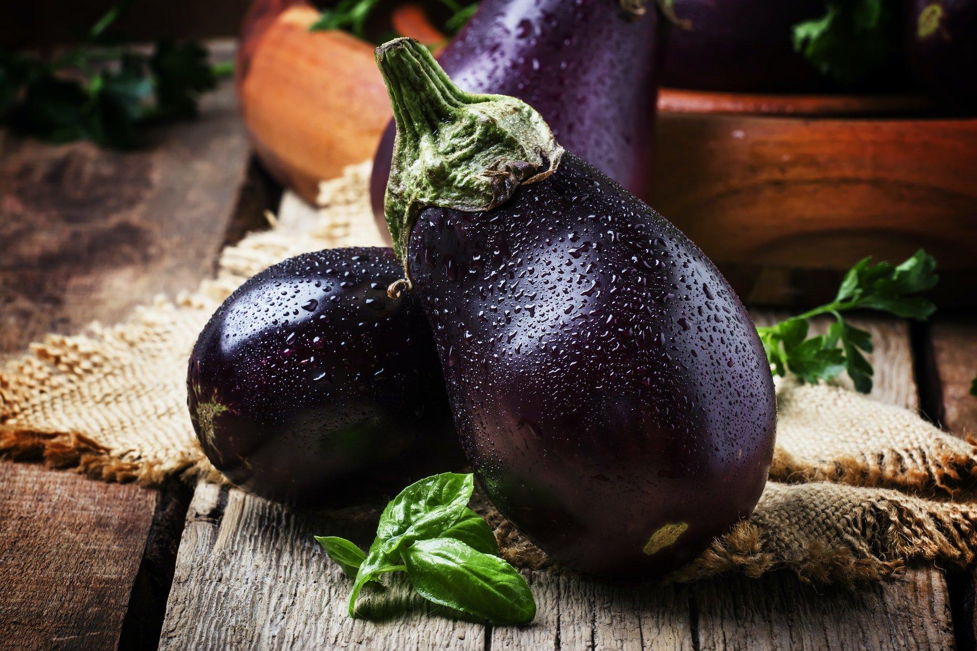 Fresh purple eggplants