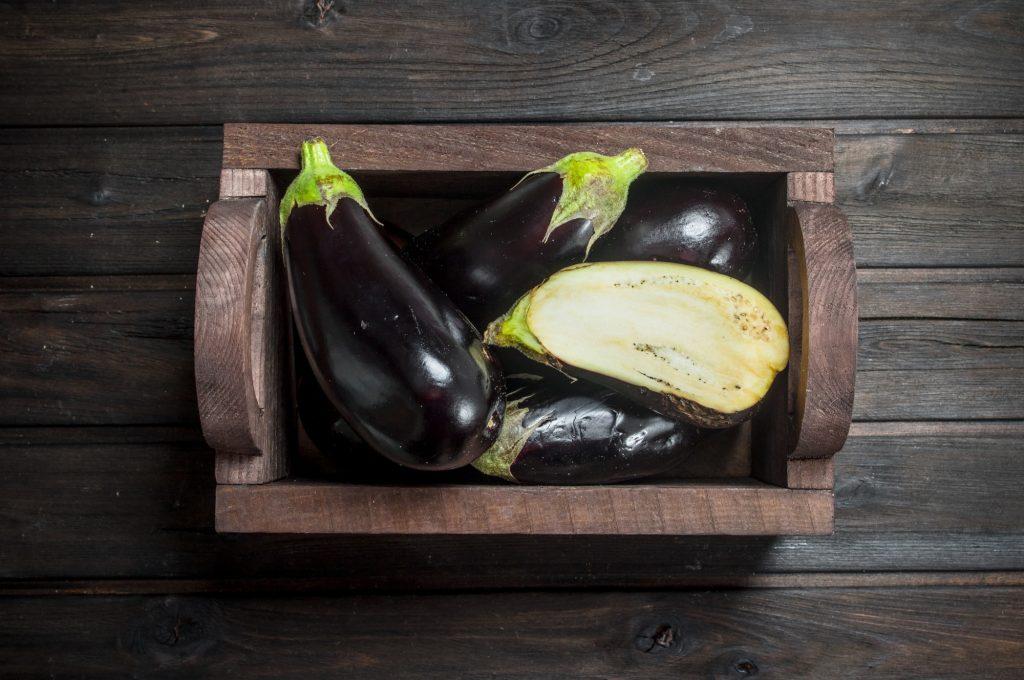 Ripe eggplant in the box.