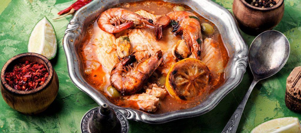 Soup with prawns