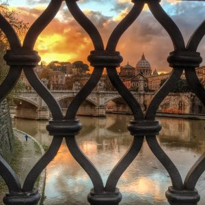 Vatican from Ponte Sant' Angelo across Tevere river