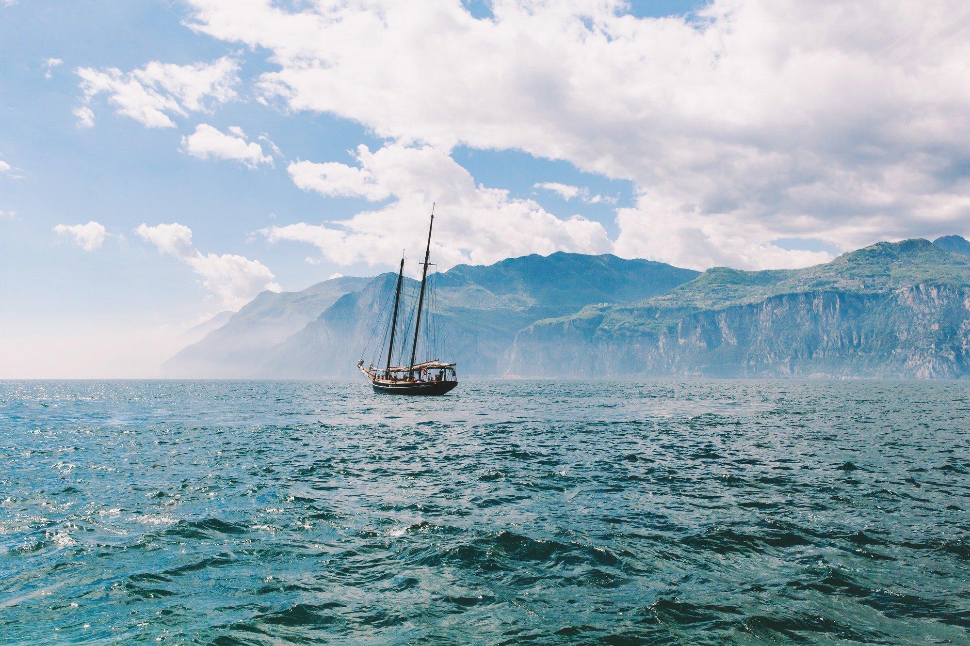 Boat on the lake Garda