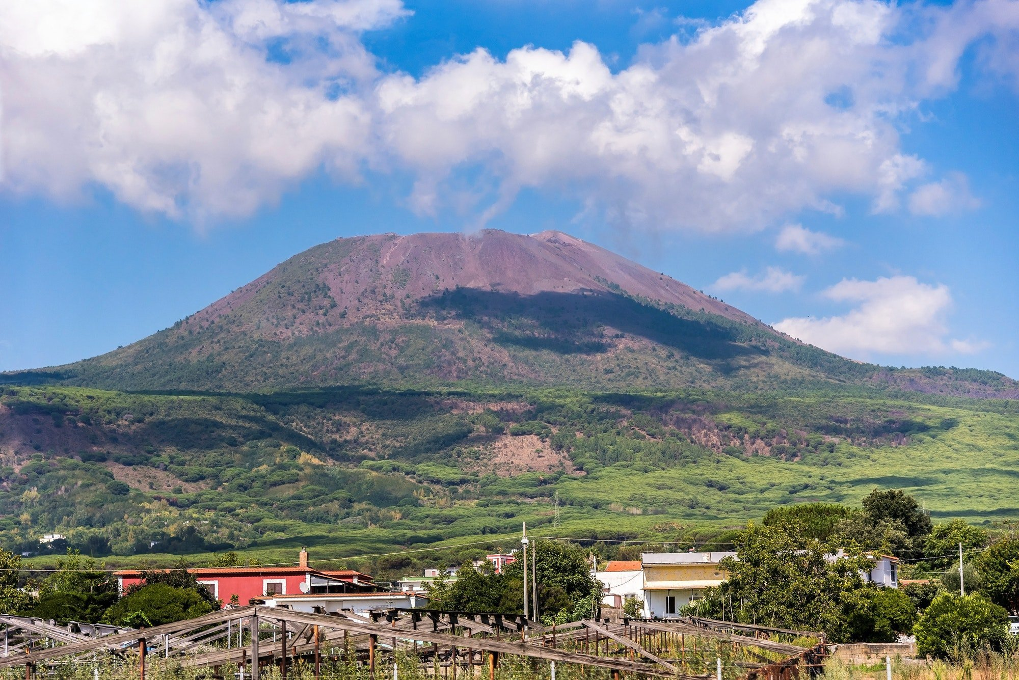 View of Mount Vesuvius on a sunny day