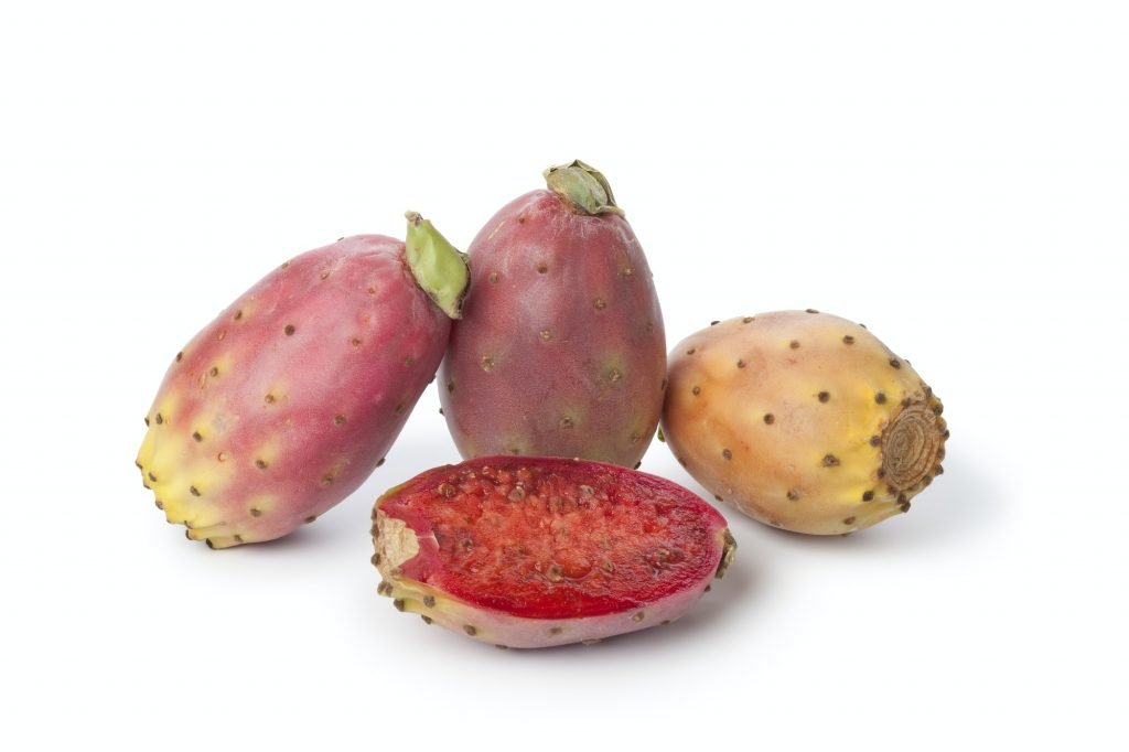 Whole and half prickly pears