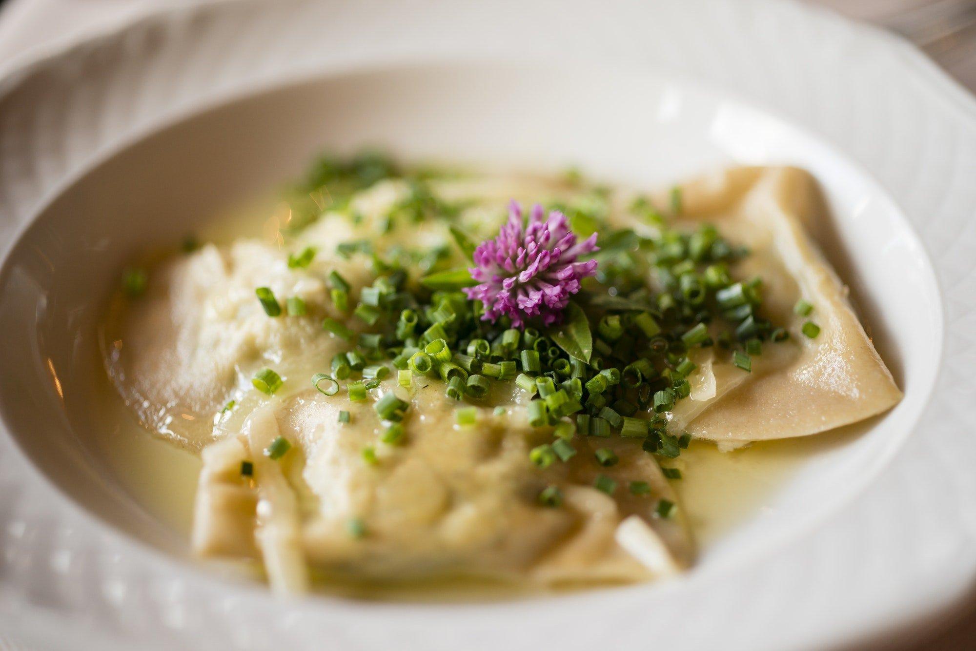 traditional Italian stuffed ortelli pasta