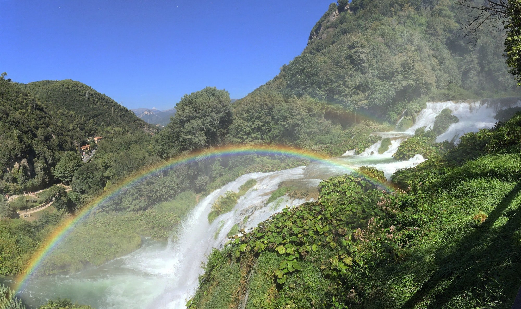 Waterfalls and a double rainbow